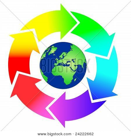 Round Arrows In Rainbow Colors With Earth In The Middle