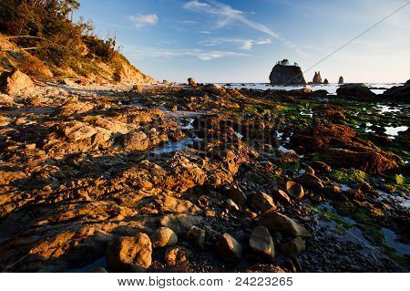 Islands And Rocky Beach With Tidepools At Sunset