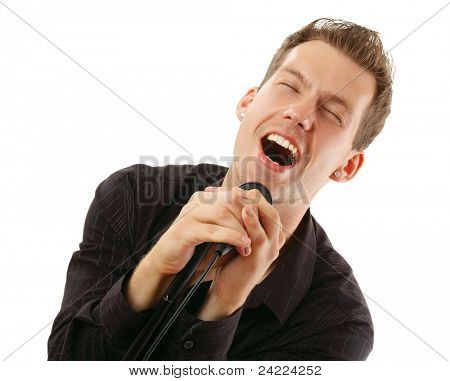 Excitnded young man singing isolated on white backgrou