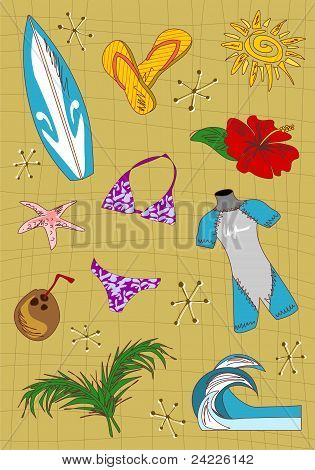 Surfing Cartoon Icons Set.