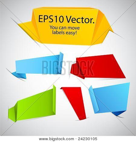 Vektor-Illustration der modernen Werbung Origami Papieretiketten in Taschen.