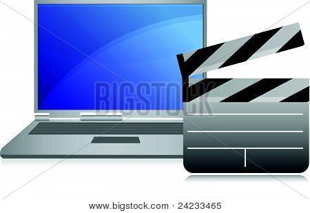 Ilustración de portátil de concepto de películas en línea