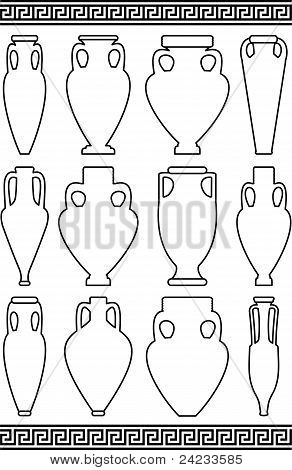 Contours of amphorae and vases and greek meander ornament