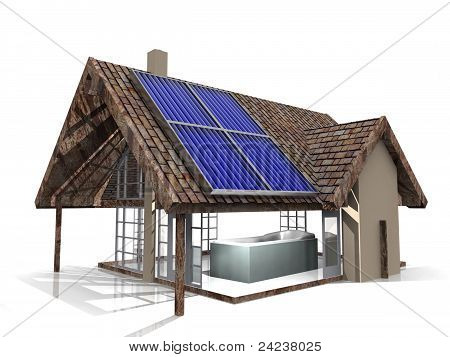 house and solar cells