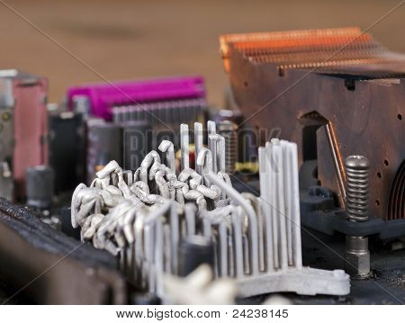Molten Heat Sink On Computer Mainboard