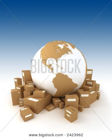 World Globe Surrounded By Packages Oriented To America