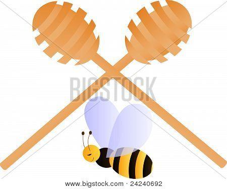 Bee sitting under two crossed honey dippers