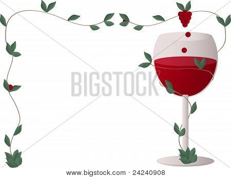 Red wine with a wine grapes in a frame