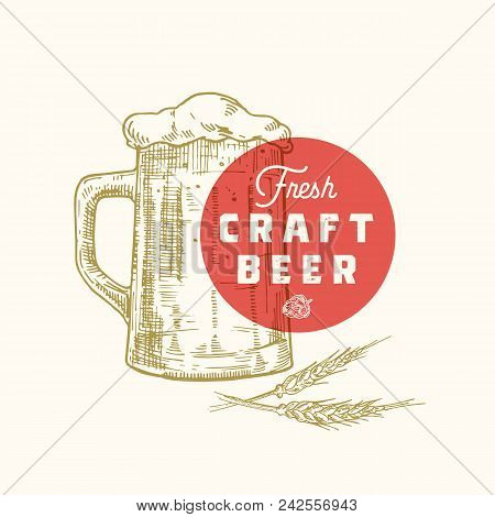 poster of Fresh Craft Beer Abstract Vector Sign, Symbol Or Logo Template. Hand Drawn Retro Beer Mug, Hops And