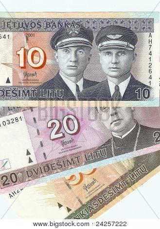 Lithuanian banknotes, 10, 20 and 50 Lithuanian litas.