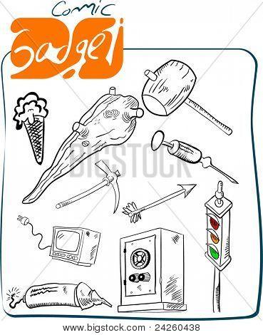 cartoon gadget set