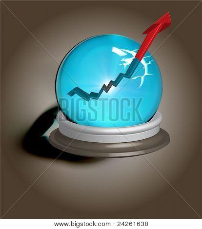 Broken magic crystal ball and finance arrow