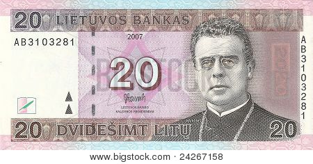 20 Lithuanian litas, the front side.