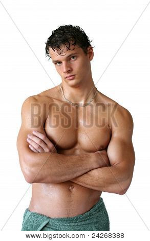 Wet Muscular Man Wrapped In Towel Isolated On White