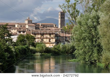 city and cathedral from velino, rieti