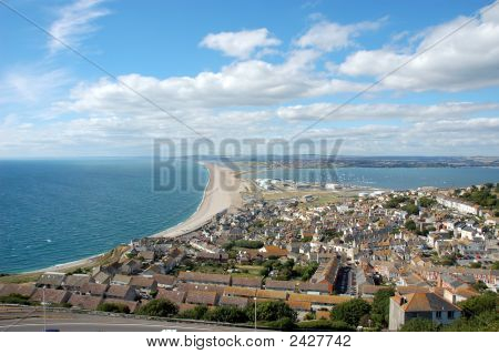 Famous Chesil Beach Near Portland In Weymouth England