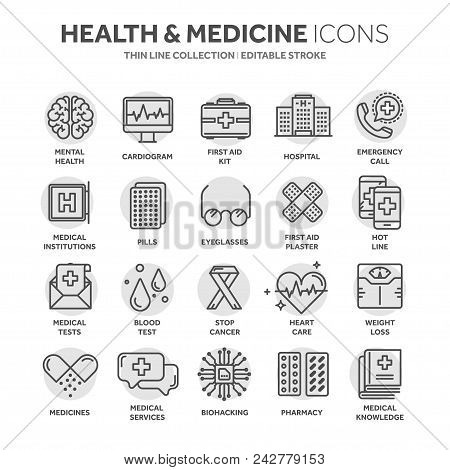 poster of Health Care, Medicine. First Aid. Medical Blood Tests And Diagnostic. Heart Cardiogram. Pills And Dr