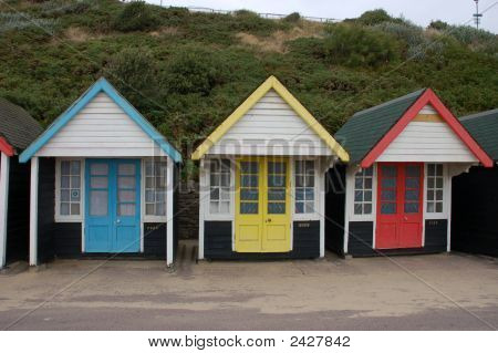 Bathing Boxes At The Beach In England