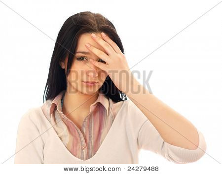 Young woman with unbearable headache isolated