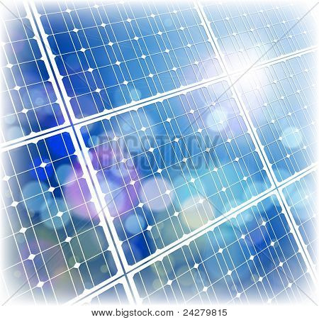 Solar power panel & blue sky. Bitmap copy my vector ID 64890427