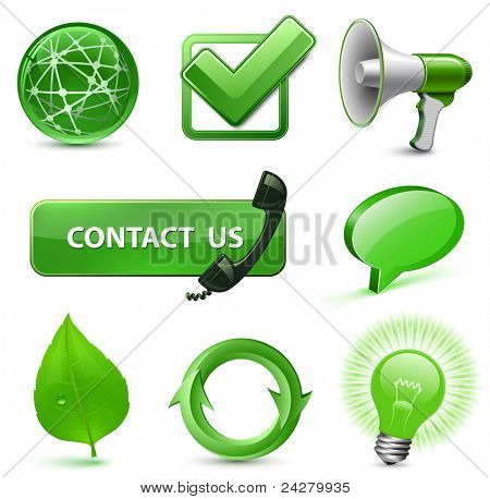 8 Highly Detailed Icons for Website. Green Series. Vector Illustration