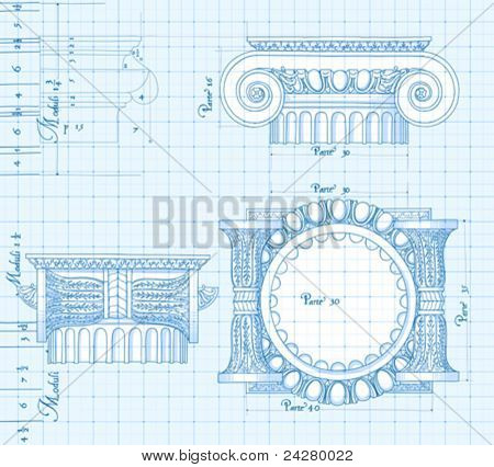 Blueprint - hand draw sketch ionic architectural order based