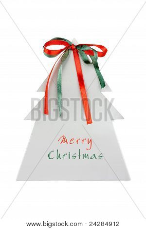 Paper Christmas Tree With Ribbons And Place For Text, Isolated