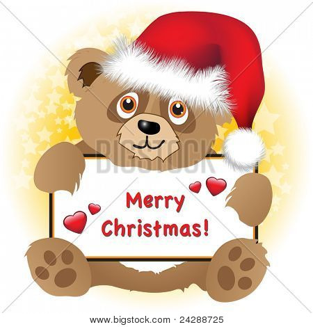 A cute cartoon Christmas bear with Santa hat holding a Merry Christmas banner with hearts Subtle star background. Easily editable for insertion of your own text. EPS10 vector format