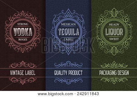 poster of Vintage Packaging Design Set With Alcohol Drink Labels Of Vodka, Tequila, Liquor.
