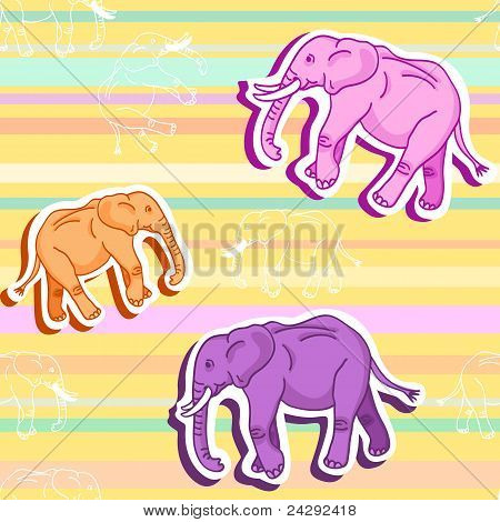 Seamless elephant Pattern Over Yellow