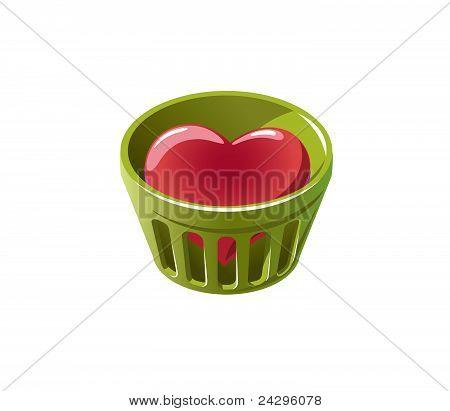 Heart in bin