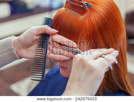 poster of The Hairdresser Does A Haircut With Scissors Of Hair To A Young With Red Hair Girl In A Beauty Salon