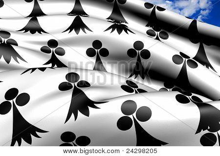 Flag Of Bretagne, France.