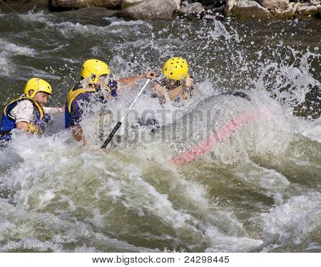 Group of four men whitewater rafting in river