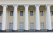 Ancient Historic Building Facade With Columns Exterior View. Old Greek Style Columns On Building Fro poster