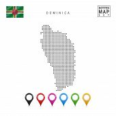 Постер, плакат: Dotted Map Of Dominica Simple Silhouette Of Dominica The National Flag Of Dominica Set Of Multico