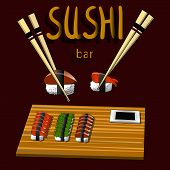 Vintage Sushi Poster Design With Vector Sushi Character. Chinese Word Means Sushi. poster
