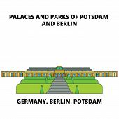 Germany, Berlin, Potsdam, Palaces And Parks Line Icon, Vector Illustration. Germany, Berlin, Potsdam poster