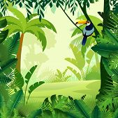 Vector Cartoon Illustration Of Background Morning Jungle. Bright Jungle With Ferns And Flowers. For  poster