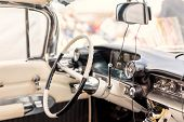 Retro Car Interior. Steering Wheel And Driver Seat Of Vintage  Vehicle. Classic  Old Automoile Dashb poster