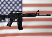 Concept for Gun Control or Gun Rights - second amendment - AR15 assault style rifle and American Fla poster