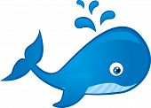 stock photo of whale-tail  - blue whale cartoon isolated over white background - JPG