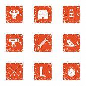 Physical Preparation Icons Set. Grunge Set Of 9 Physical Preparation Vector Icons For Web Isolated O poster