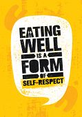 Eating Well Is A Form Of Self-respect. Healthy Lose Weight Lifestyle Nutrition Motivation Quote. Ins poster