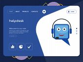 Quality One Page Helpdesk Website Template Vector Eps, Modern Web Design With Flat Ui Elements And L poster