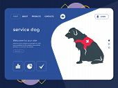 Quality One Page Service Dog Website Template Vector Eps, Modern Web Design With Flat Ui Elements An poster