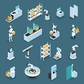 Automated Shops With Machinery And Robots For Various Operations  Isometric Icons On Dark Background poster