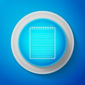 White Notebook Icon Isolated On Blue Background. Spiral Notepad Icon. School Notebook. Writing Pad.  poster