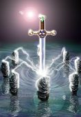 stock photo of arthurian  - Illustration inspired by the legend of King Arthur - JPG