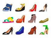 Womens Shoes Vector Flat Fashion Design Collection Of Leather Colored Moccasins Shoes Sandals Illust poster